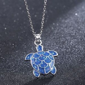 Sterling Silver Blue Turtle Necklace